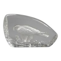 Wedgwood Lead Crystal Eagle And Chick Paperweight Vintage 20th Century.