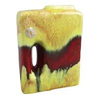 Uebelacker Keramik West German Drip Glaze Block Chimney Vase Vintage c1960