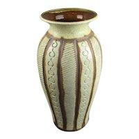Large U-Keramik West German Carved Detail Vase Vintage c1960