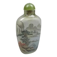 Chinese Reverse Painted River Scene Snuff Bottle Vintage