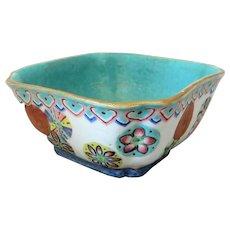Antique Chinese Famille Rose Square Tongzhi Period Bowl c1862-74