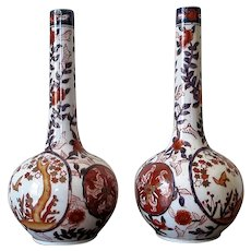 Pair Japanese Imari Bottle Vases Oriental Vintage Early 20th Century