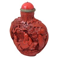 Antique Chinese 19th Century Carved Cinnabar Lacquer Snuff Bottle