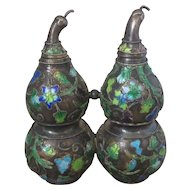 Chinese Silver And Enamel Double Gourd Form Snuff Bottle Antique 19th Century.