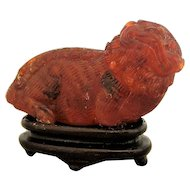 Small Chinese Carved Amber Shi Shi Dog Antique 18th/ 19th Century