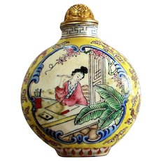Beautiful Antique Chinese Enamel Snuff Bottle c1900