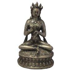 Tibetan Bronze Buddha Seated In Lotus Position Antique 18th Century.