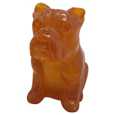 Chinese Carved Amber Bulldog Antique 19th Century