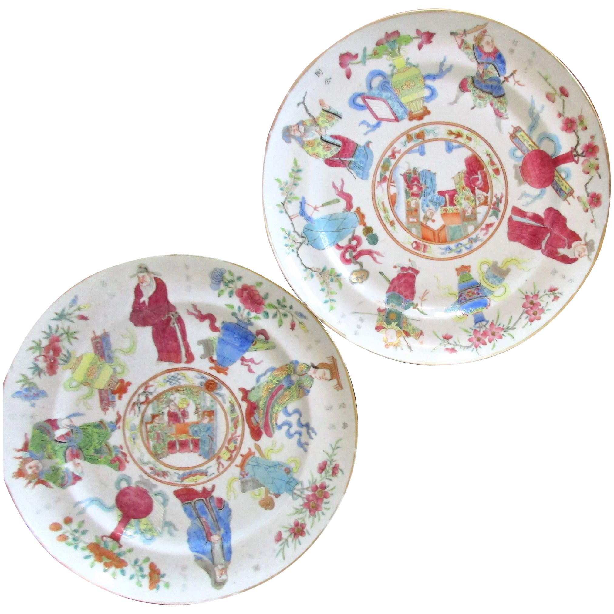 Pair Large Chinese Famille Rose Plates
