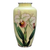 Japanese Meiji Period Ginbari Enamel 'Iris' Vase Antique C1900