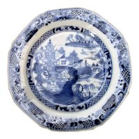 Antique Chinese Blue & White Willow Pattern Plate Qianlong Period 1736-95