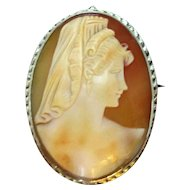 Antique Late 19th Century Classical Female Cameo Brooch with Silver Gilt Mount