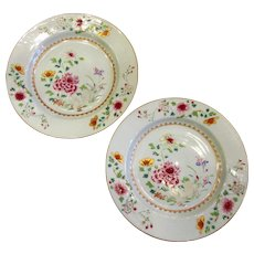 Pair Chinese Antique Famille Rose Dishes Qianlong Period c1736-95.