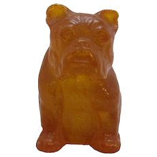 Chinese Carved Amber Bulldog Antique 19th Century.