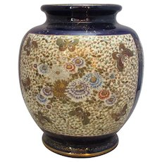 Japanese Ceramic Satsuma Vase With Flower & Butterfly Motif Antique Meiji Period c.1880