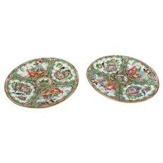 Pair Of Cantonese Plates Antique 19th Century.