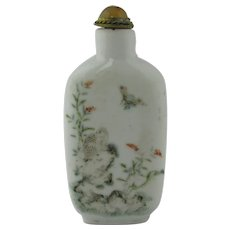Chinese Famille Rose Snuff Bottle Antique 19th Century.