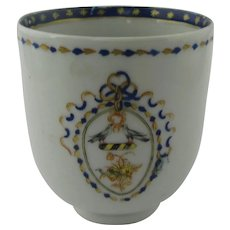Chinese Export Tea Cup with Family Crest Antique Qianlong (1736-1795).