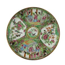 Cantonese Painted Side Plate Dish Antique 19th Century.
