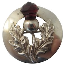 Scottish Thistle Sterling Silver Brooch Pin Antique Edwardian 1910