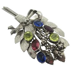 Large Sterling Silver & Paste Flower Brooch Pin by Hobe Vintage c1940