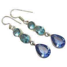 Tanzanite & Blue Topaz Sterling Silver Dangling Ear Pendant Earrings Vintage c1980