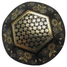 Flower Detail 9k Gold Pique Brooch Pin Antique Victorian c1860