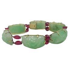 Carved Jadeite & Ruby 15k Gold Bracelet Vintage Chinese c1920