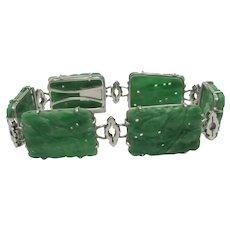 Carved Old Chinese Jade in Sterling Silver Bracelet Vintage c1920