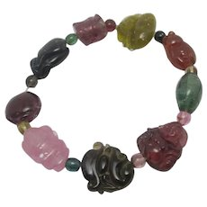 Chinese Semi Precious Stone Bracelet carved Buddha Monkey Insect Vintage c1920