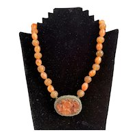 Chinese Sterling Silver Carnelian Necklace Antique Victorian c1850
