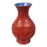 Chinese Cinnabar Vase Antique Edwardian c1910