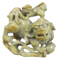 Chinese Soapstone Carving Of A Lion Dog Mejji Period