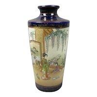 Japanese Satsuma Pottery Vase Antique Meiji Period c1900