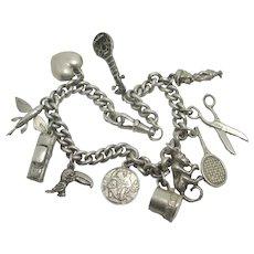 Charm Bracelet 11 Charms Sterling Silver Vintage c1970