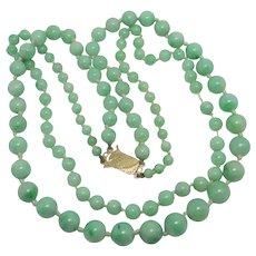 Double Strand Apple Green Jadeite Bead Necklace 9k Gold Clasp Vintage Art Deco c1920