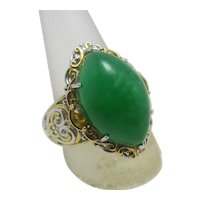 Marquise Shape Cabochon Jadeite Sterling Silver Ring Vintage c1950