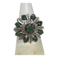 Emerald & Diamond 18k White Gold Ring English 1968 Vintage