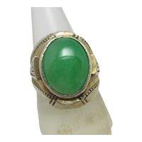 Cabochon Jadeite Sterling Silver Passover Ring Vintage c1950