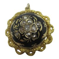Old Cut Diamonds Black Enamel 15k Gold Brooch Pin Antique Victorian c1860
