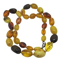 Natural Amber Bead Necklace Vintage Art Deco c1920