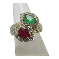 Emerald Ruby & Diamond 18k Gold Ring Vintage c1980