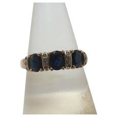 Trilogy Sapphire & Diamond 9k Gold Ring Vintage c1970