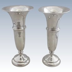 Pair Of Sterling Silver Vases Antique Edwardian Hallmarked Chester 1917.