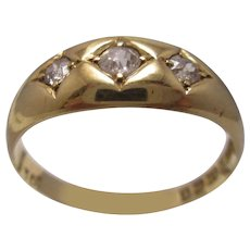 18k Yellow Gold & Three Stone Diamond Ring Antique Edwardian Birmingham 1906