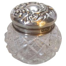 Antique Cut Glass and Silver Top Dressing Pot by Aide & Lovekin c1900.