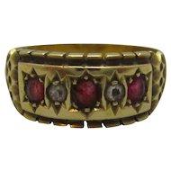 18ct Yellow Gold Ruby & Diamond Ring Chester Edwardian 1906 English.