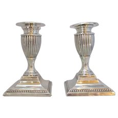 English Pair Of Silver Candlesticks Antique c.1895.