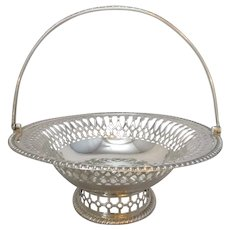 English Silver Pedestal Oval Basket Antique c.1916.