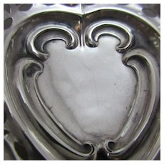 English Silver Heart Shaped Dish Antique c.1897.